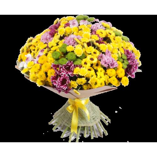 Купить на заказ Заказать Букет из 101 хризантемы с доставкой по Жескасгану с доставкой в Жезказгане