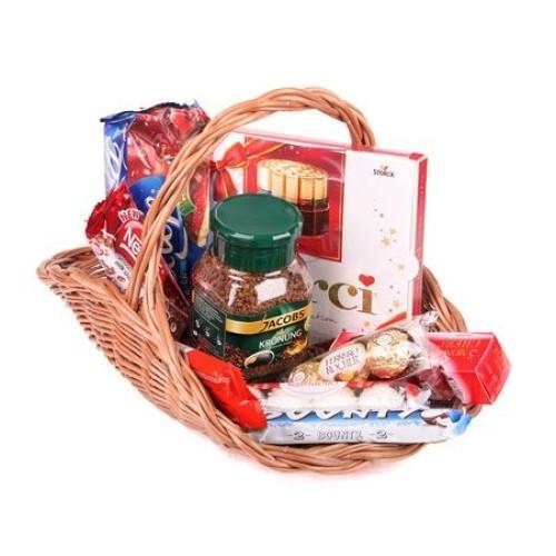 Купить на заказ Заказать Кофейно-конфетная корзина с доставкой по Жескасгану с доставкой в Жезказгане