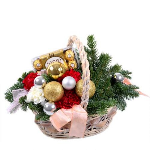 Купить на заказ Заказать Корзинка «Новогоднее настроение» с доставкой по Жескасгану с доставкой в Жезказгане