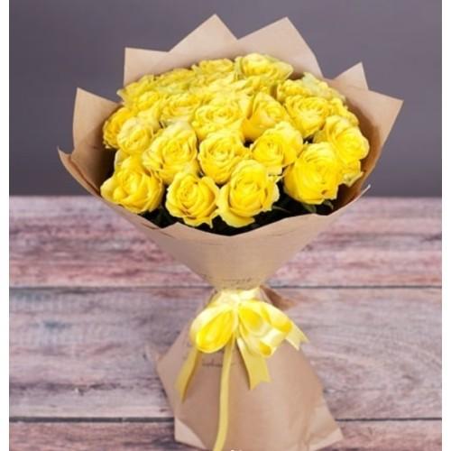 Купить на заказ Букет из желтых роз с доставкой в Жезказгане