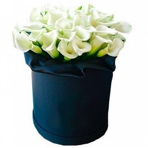 Купить на заказ Каллы в шляпной коробке (39 шт.) с доставкой в Жезказгане