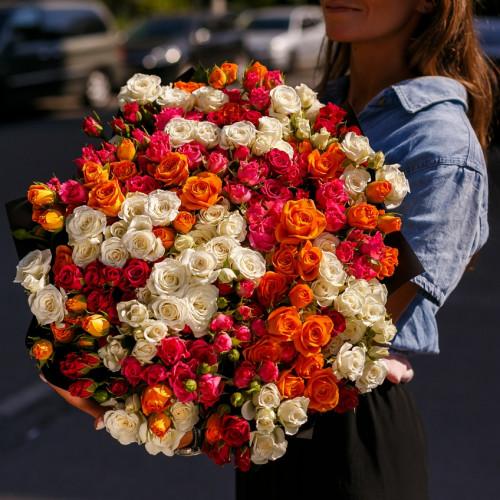 Купить на заказ Заказать Букет из 51 спрей  розы с доставкой по Жескасгану с доставкой в Жезказгане